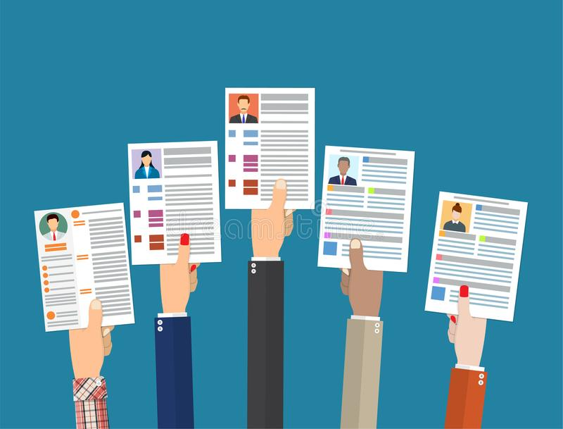 De handen die cv houden hervatten documenten stock illustratie
