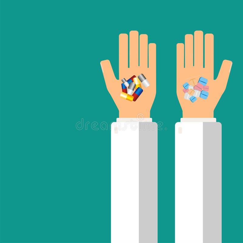De handen die van de arts pillen voor zijn patiënt houden Het concept van de gezondheidszorg Vector illustratie vector illustratie