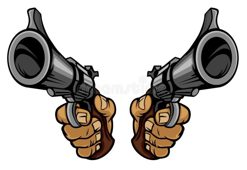 De handen die van het beeldverhaal kanonnen houden vector illustratie