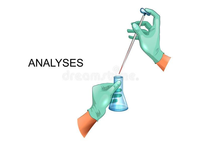 De handen die van de laboratoriumtechnicus een beker en een pipet houden stock illustratie
