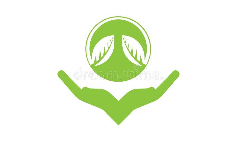 De handen geven Groen Ecologieblad Logo Template - Groene Verse de Natuurvoeding Natuurlijke Gezondheidszorg van Gezondheidseco L vector illustratie