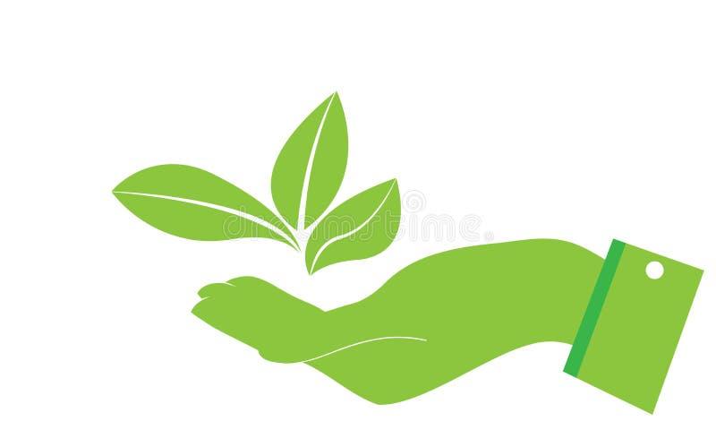 De handen geven Groen Ecologieblad Logo Template - Groene Verse de Natuurvoeding Natuurlijke Gezondheidszorg van Gezondheidseco L stock illustratie