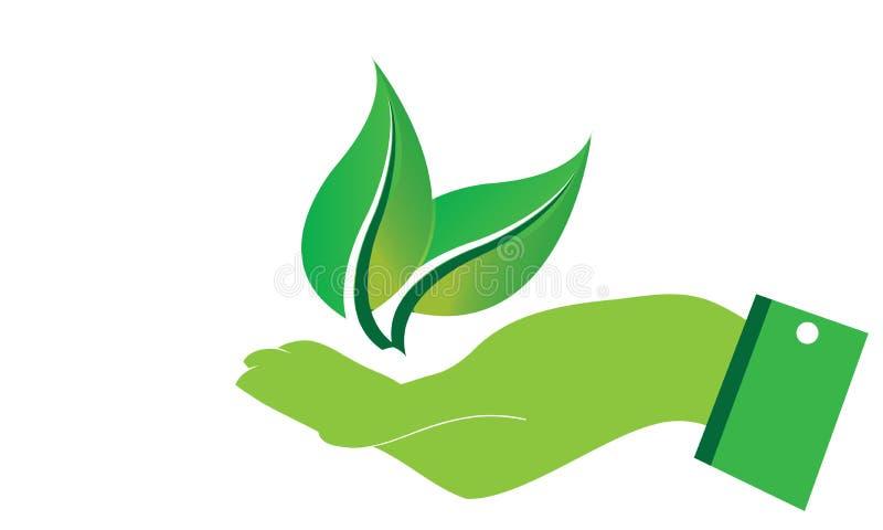 De handen geven Groen Ecologieblad Logo Template - Groene Verse de Natuurvoeding Natuurlijke Gezondheidszorg van Gezondheidseco L royalty-vrije illustratie