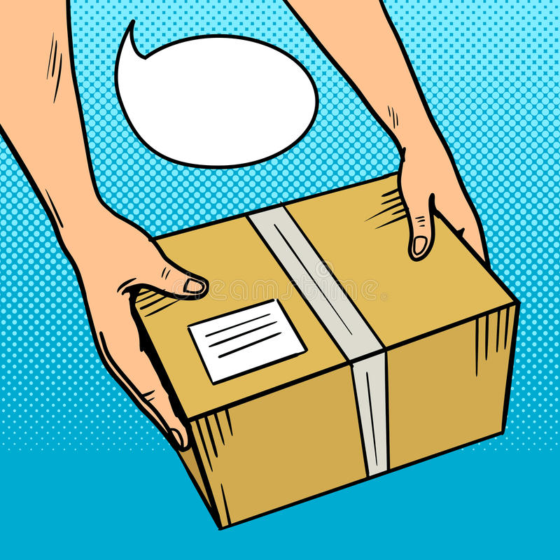 De handen geven pakket in de vector van het doospop-art royalty-vrije illustratie