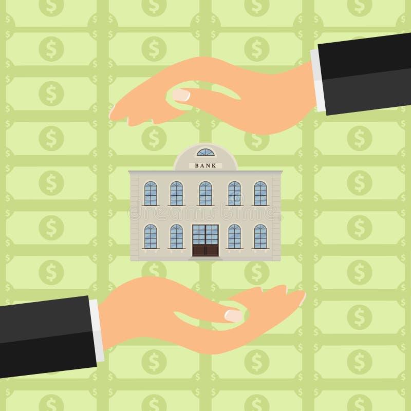 De handen houden de bank Bank tussen twee handen tegen de achtergrond van geld vector illustratie