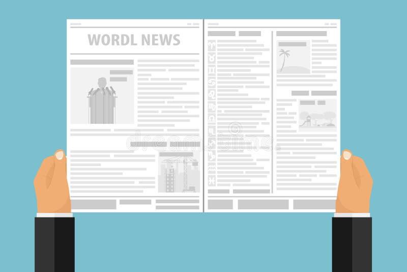 De handen houden een krant met nieuws Een mens leest een krant stock illustratie