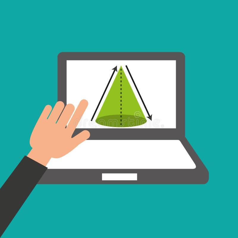De handen houdt laptop-online onderwijsmeetkunde royalty-vrije illustratie