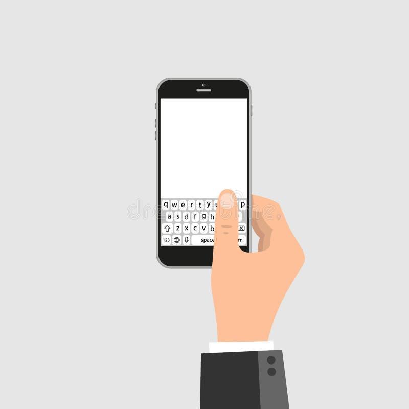De handen houdt smartphone met overseinen sms app Vectorillustratie in vlakke stijl stock illustratie