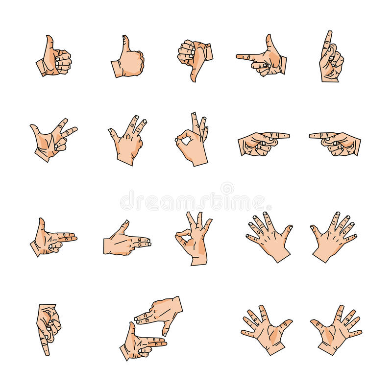 De handen, houdt van en vingers royalty-vrije illustratie