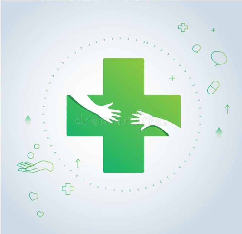 De handen koesteren in het ontwerp van het het ziekenhuispictogram, gezondheidszorg en de medische vector van het embleemsymbool vector illustratie