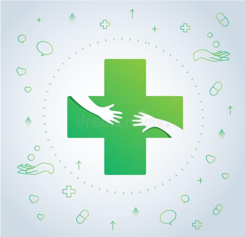 De handen koesteren in het ontwerp van het het ziekenhuispictogram, gezondheidszorg en de medische vector van het embleemsymbool stock illustratie