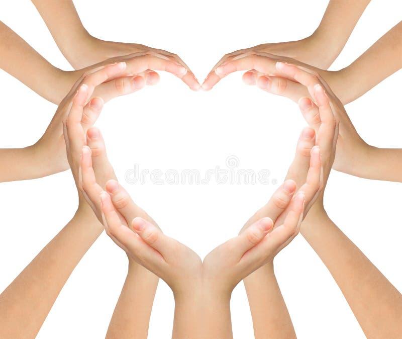 De handen maken hart stock foto's