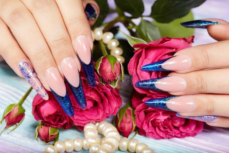 De handen met het lange kunstmatige blauwe Frans manicured spijkers en roze nam bloemen toe royalty-vrije stock fotografie