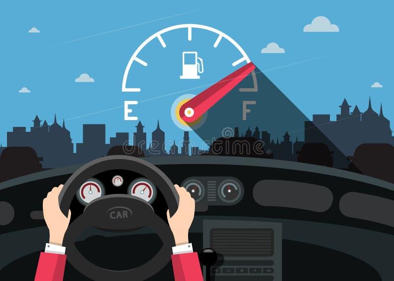 De handen op Stuurwiel met Auto voorzien Vlakke Maatmeter op Front Glass en Stad van brandstof royalty-vrije illustratie