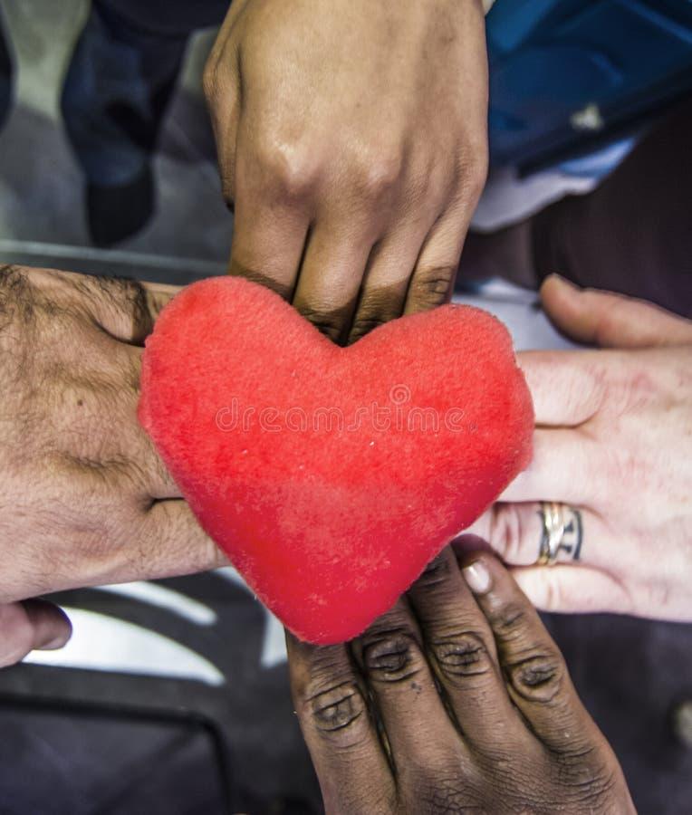 De handen van alle kleuren geven hun hart, onbaatzuchtigheid royalty-vrije stock fotografie