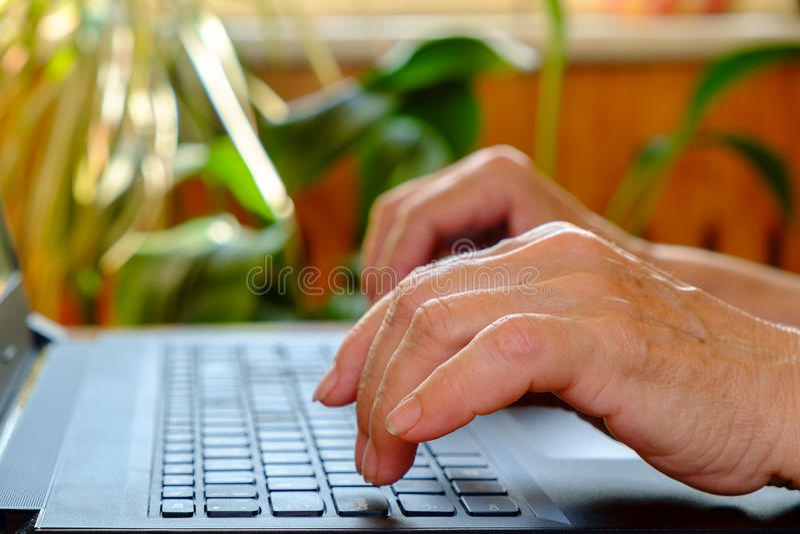 De handen van bejaarden typt tekst op laptop close-up stock foto