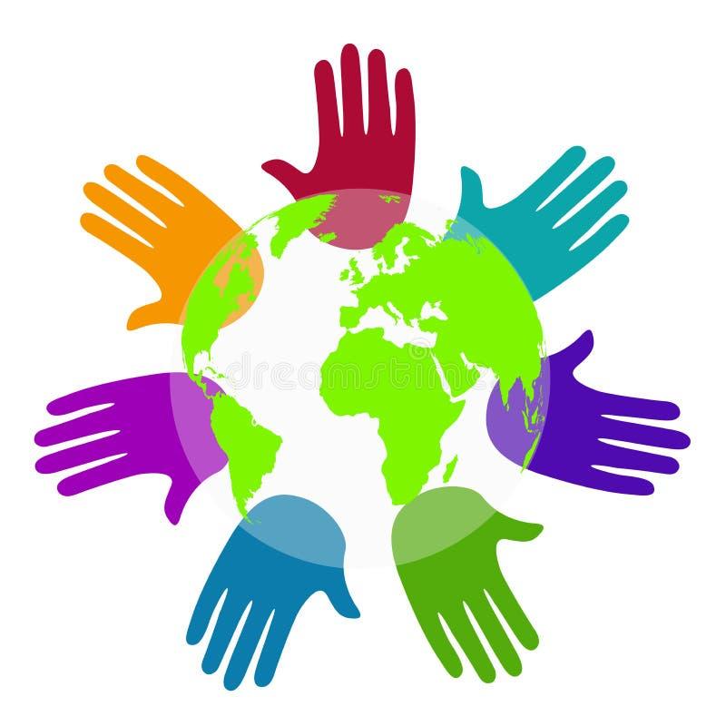 De handen van de diversiteit rond de wereld vector illustratie