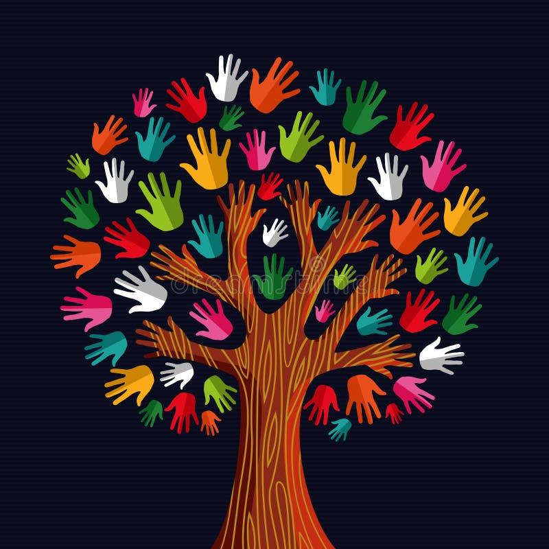 De handen van de diversiteitsboom royalty-vrije illustratie