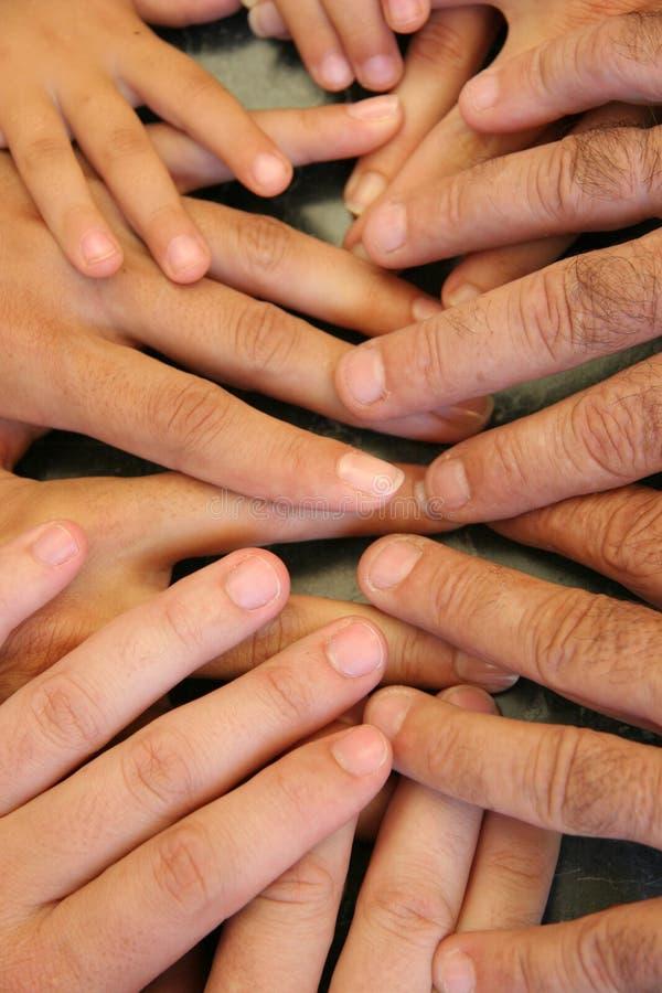 De handen van de familie stock foto