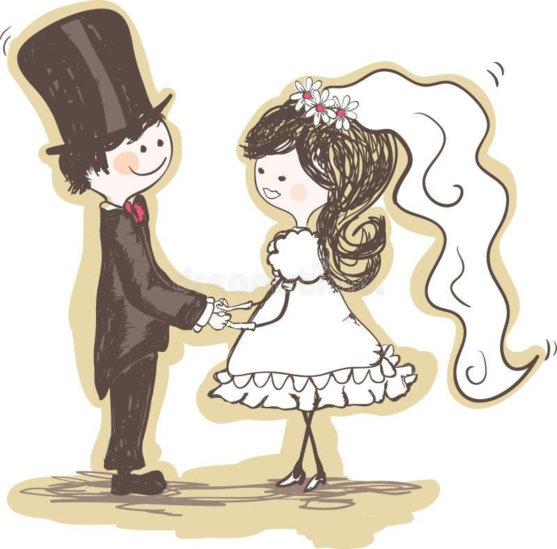 De handen van de het paarholding van het huwelijk royalty-vrije illustratie