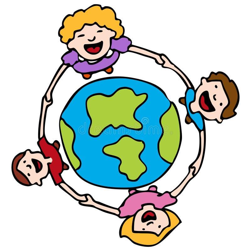 De Handen van de holding rond de Aarde stock illustratie