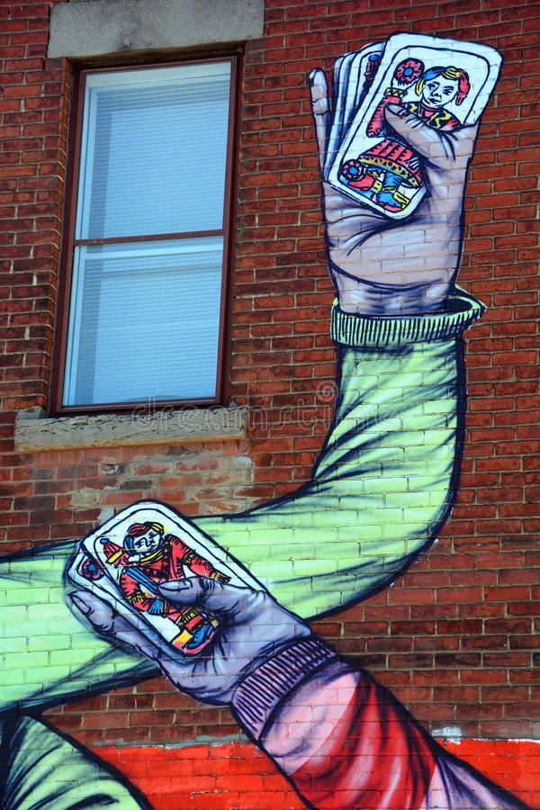 De handen van de kaartenspelers van de straatkunst royalty-vrije stock afbeeldingen