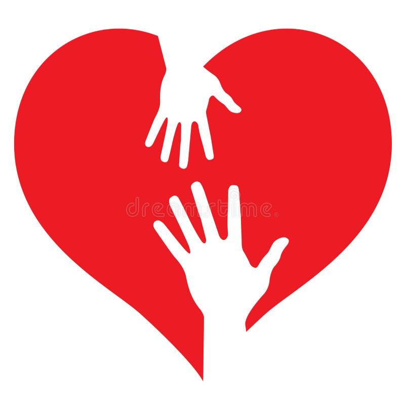 De handen van de ouder en van de baby op hart vector illustratie