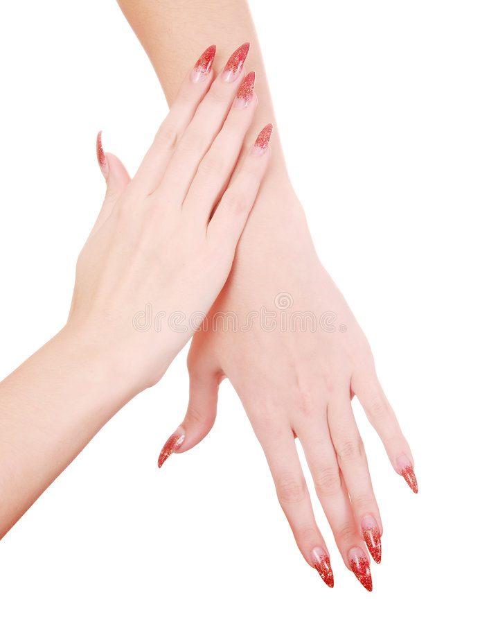 De handen van Manicured stock foto's