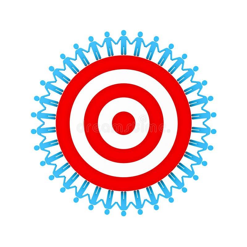 De Handen van de mensenholding rond rood doel of dartboard het groepswerk bedrijfsdieconcept op witte achtergrond wordt geïsoleer royalty-vrije illustratie