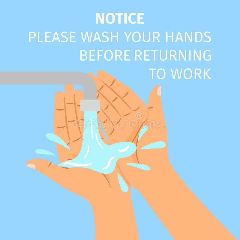 De handen van de mensenwas onder de kraan stock illustratie