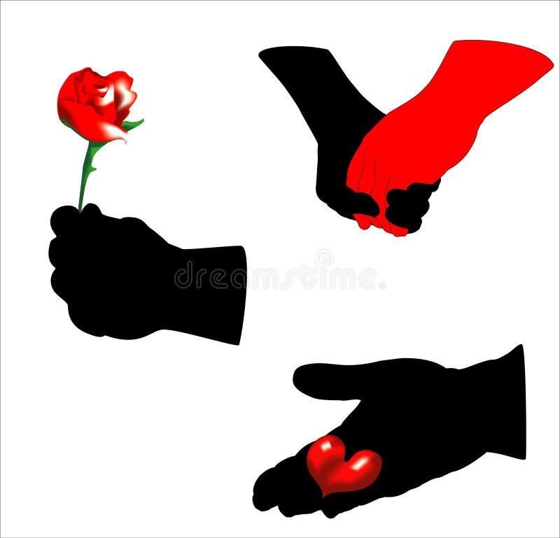 De handen van valentijnskaarten stock illustratie