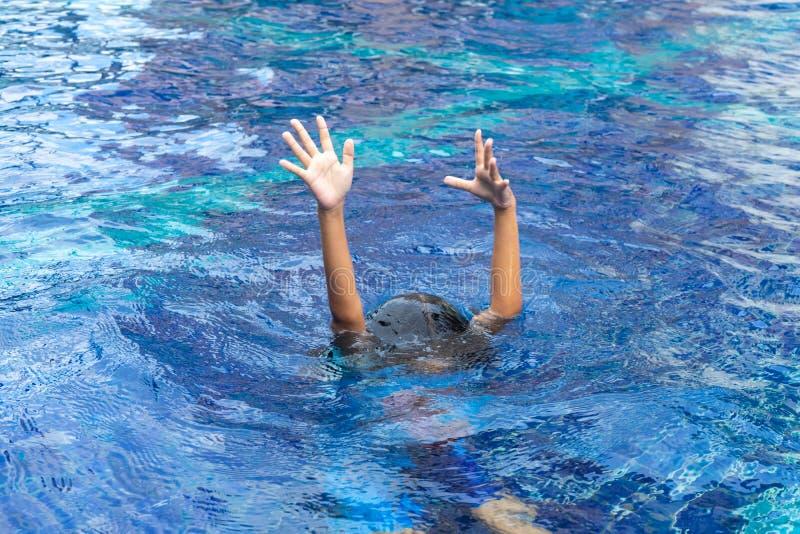 De handen van verdrinken Jong geitje in het diepe water, behoefte aan hulp stock fotografie