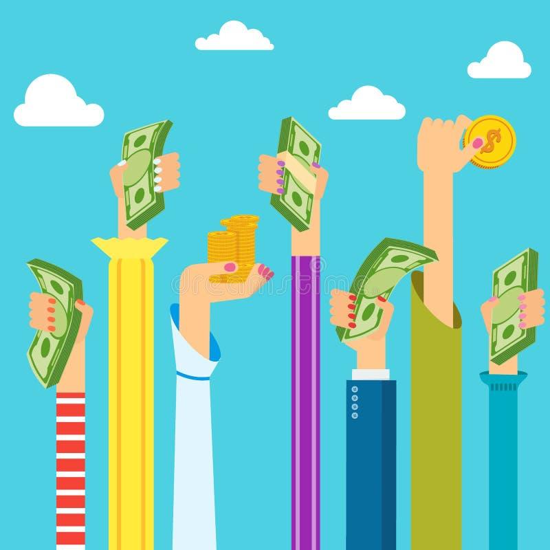 De handen van de vrouw met geld vector illustratie