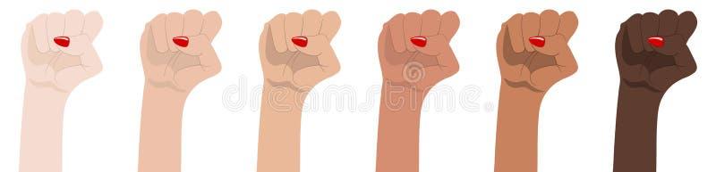 De handen van de vrouw met haar omhoog opgeheven vuist Symbool van Eenheid, Revolutie, Protest, Samenwerking en Solidariteit Rasg stock illustratie
