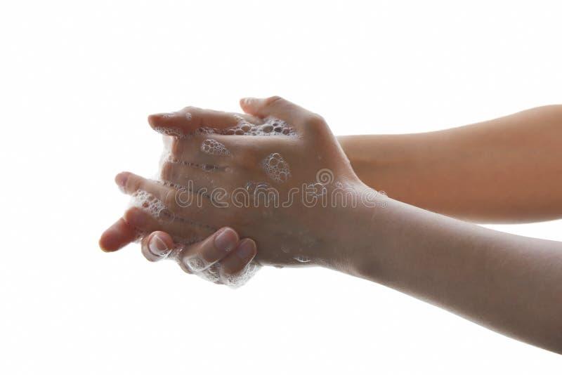 De handen van de was met vloeibare zeep royalty-vrije stock foto
