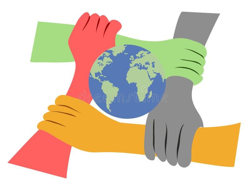 De handen verenigden de aarde stock illustratie