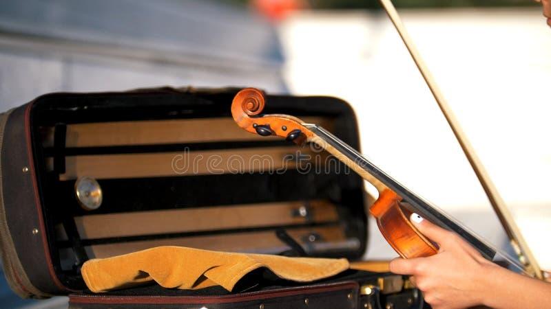 De handen zetten de viool in het geval stock fotografie