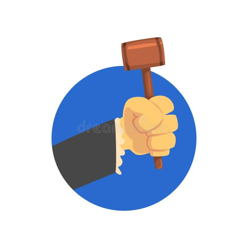 De handholding beoordeelt hamer, houten hamer van rechter of de vectorillustratie van het veilingmeesterbeeldverhaal royalty-vrije illustratie