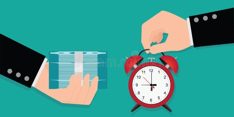 De handholding die tijd met geld ruilen, tijd is geldconcept, Jaaromzet, financiële investering, besparingen, bankstorting, toeko royalty-vrije illustratie