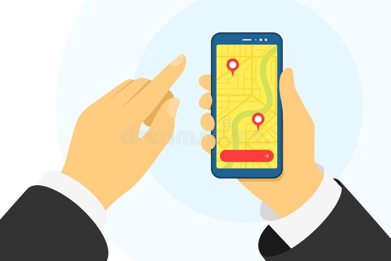 De handhoudtelefoon en de stadskaart van de hand met gps navigatiemarkeringspins plaatsen op het scherm app voor mobiele navigato stock foto's