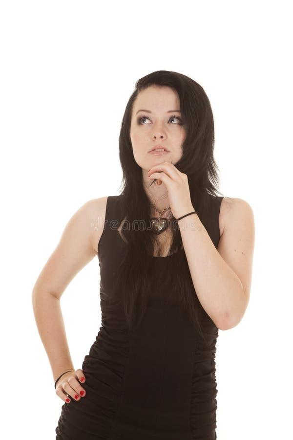 De handkin van de vrouwen omhoog eruit ziet de zwarte kleding stock fotografie