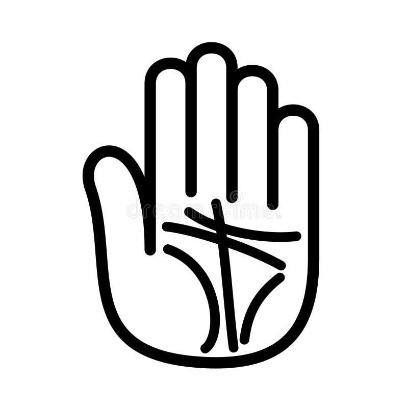 De handlijnkundelijnen overhandigen open embleem Overzichtsstijl royalty-vrije illustratie