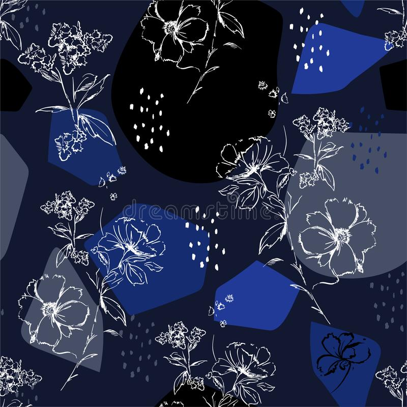 De handschets van Styilsh bloeit de monotone blauwe en witte Mimimal en botanisch met modern de vorm naadloos binnen patroon van  vector illustratie