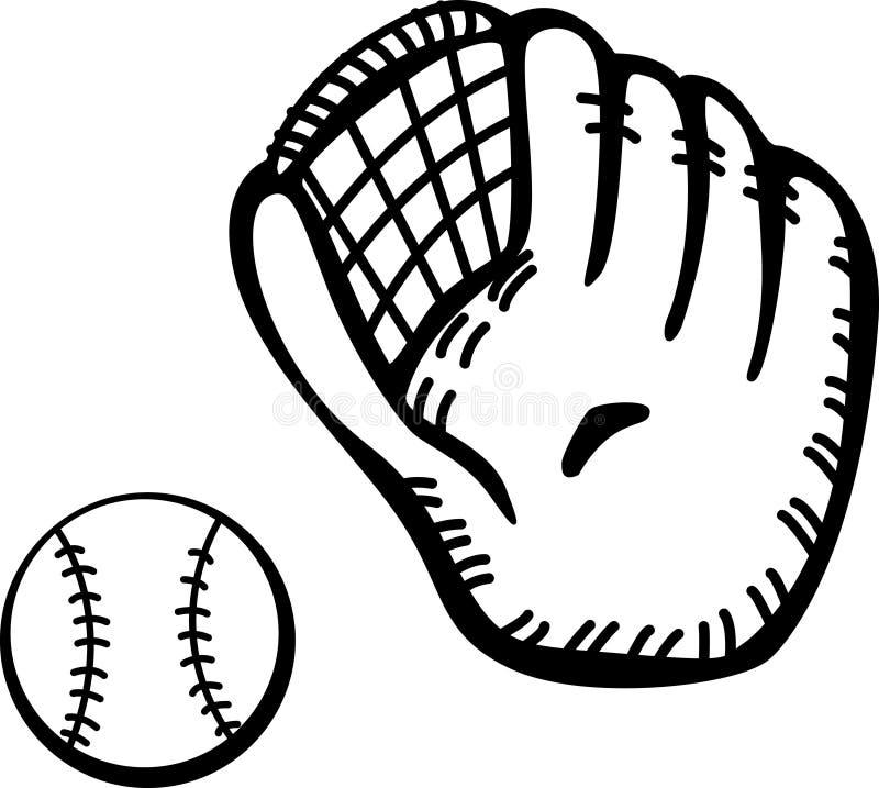 De handschoen en de bal van het honkbal stock illustratie