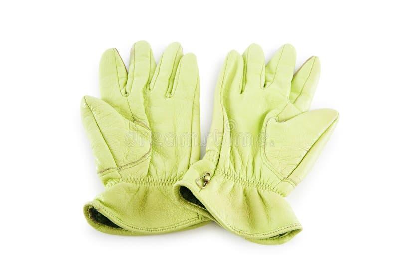 De handschoenen van het leer die op het wit worden geïsoleerd stock afbeelding