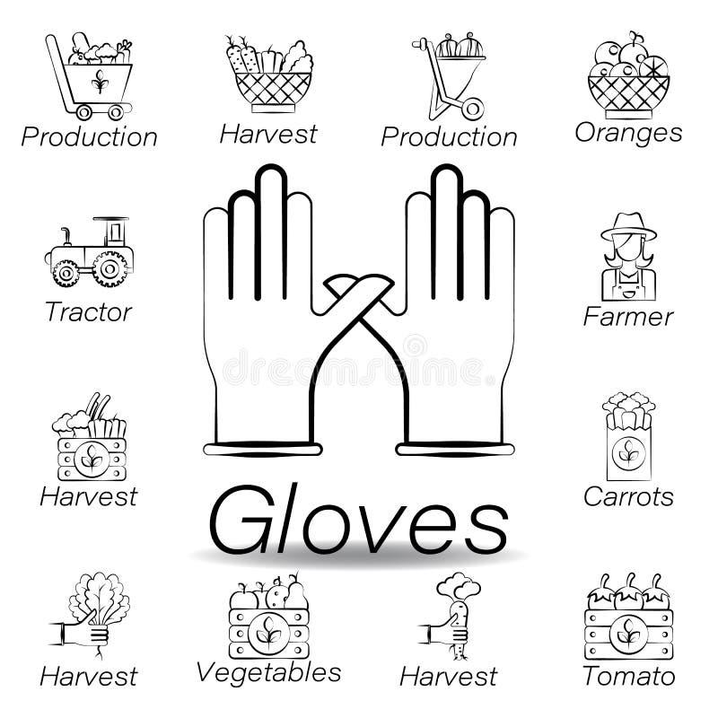 De handschoenenhand trekt pictogram Element van de landbouw van illustratiepictogrammen De tekens en de symbolen kunnen voor Web, vector illustratie
