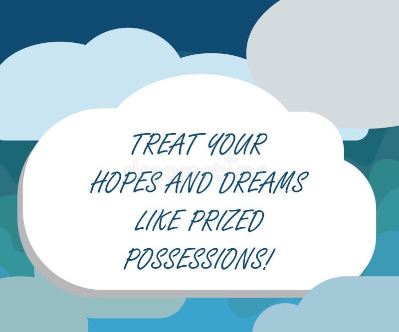 De handschrifttekst behandelt Uw Hoop en Dromen zoals Gewaardeerd Bezit Concepten betekenende Waarde uw Halftone wensenspatie royalty-vrije illustratie
