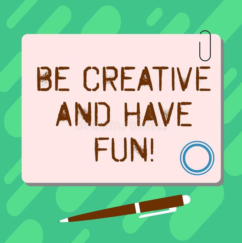 De handschrifttekst is Creatief en heeft Pret Concept die het Gelukkige leidende tot nieuwe dingen genieten betekenen die Lege Vi stock illustratie