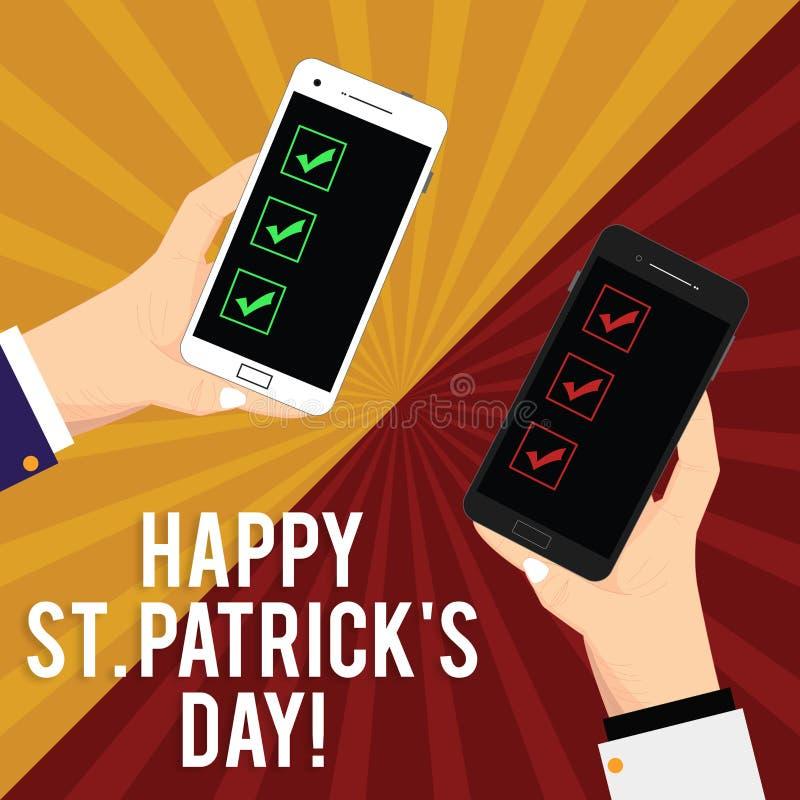 De handschrifttekst die Gelukkige St Patrick S schrijven is Dag Concept die de vierings groene gelukkige charmes en klavers betek royalty-vrije illustratie