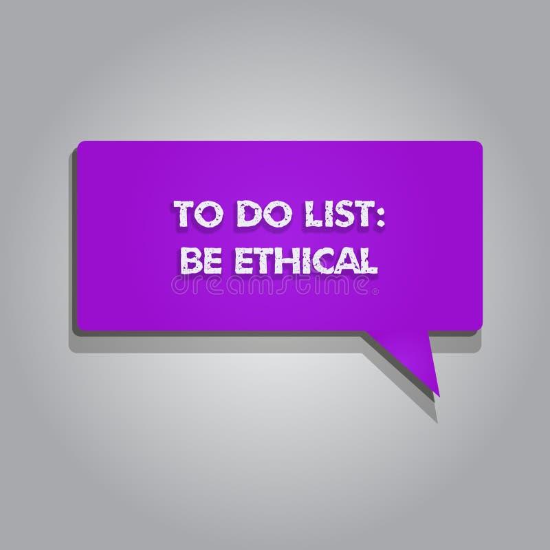 De handschrifttekst die Lijst schrijven te doen Ethisch is Concept het betekenen plant of herinnering die in een ethische cultuur stock illustratie